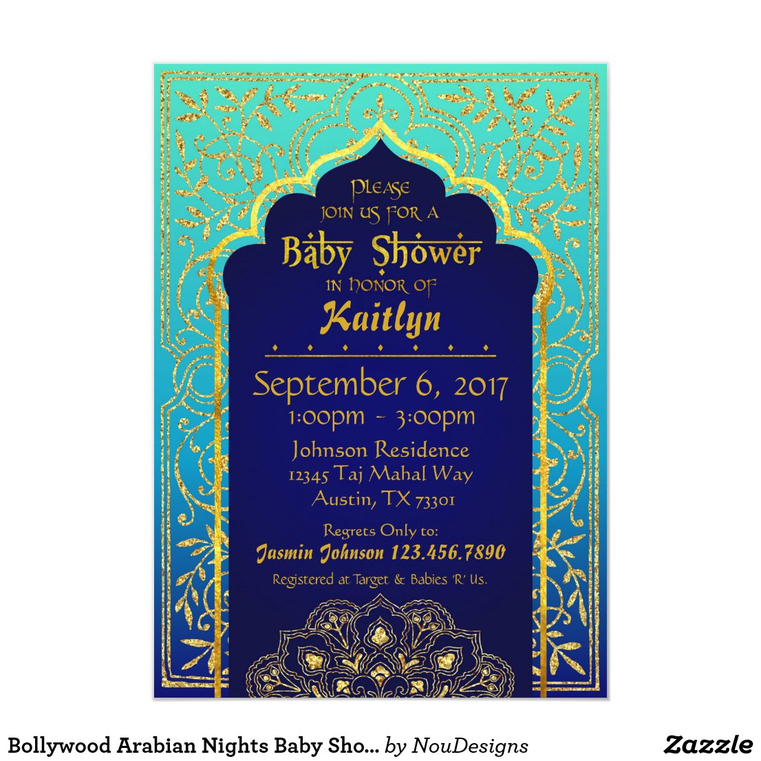 Bollywood Arabian Nights Baby Shower Card