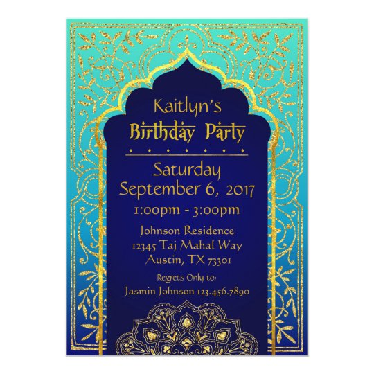 Bollywood Arabian Nights Birthday Invitation Card – Bollywood Birthday Card