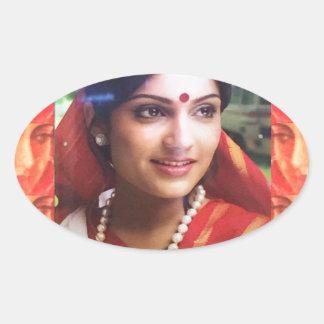 Bollywood diva actress Indian beauty cinema girls Oval Sticker