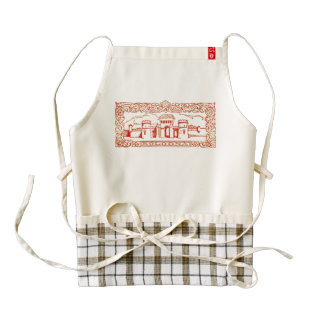 Bologna Italy antique vintage art woodcarving seal Zazzle HEART Apron