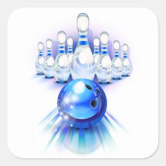 Bolos azules pegatina cuadrada
