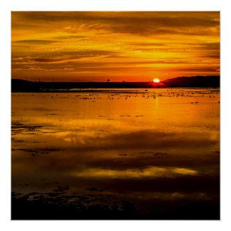 Bolsa Chica Wetlands in California Sunset Poster