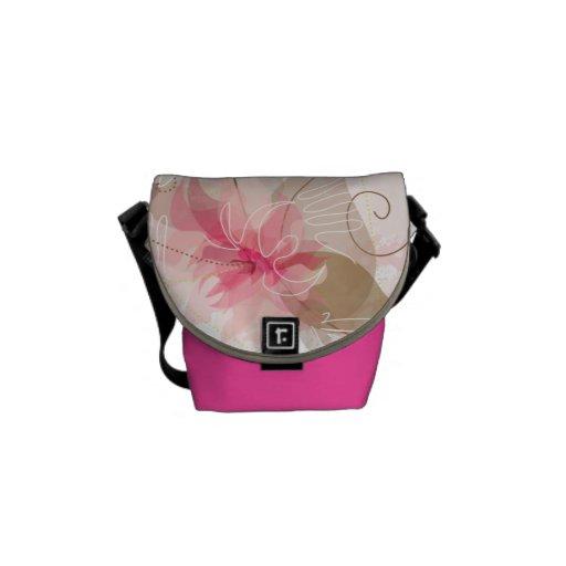 Bolsa de mensajero cero floral rosada de la acuare bolsas de mensajería