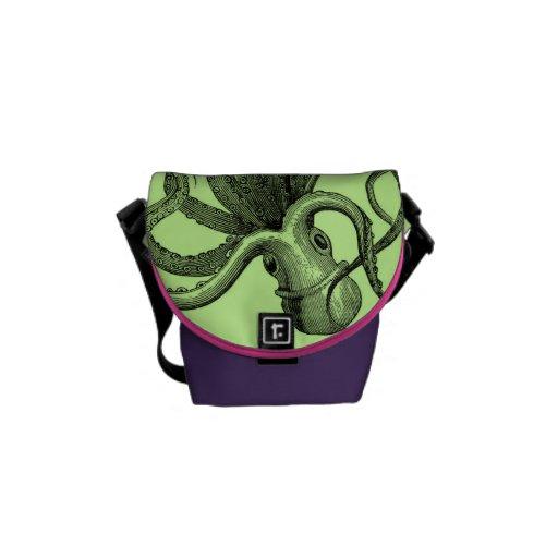 Bolsa de mensajero del pulpo del verde de mar la m bolsas de mensajería