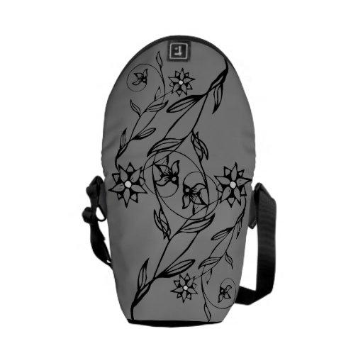 Bolsa de mensajero gris de la flor elegante la min bolsa de mensajeria