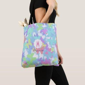 Bolsa de tela con estampado de mariposa