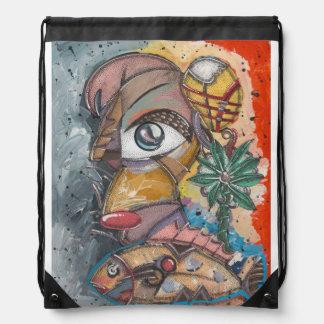 Bolsa idiot arte drawstring bag