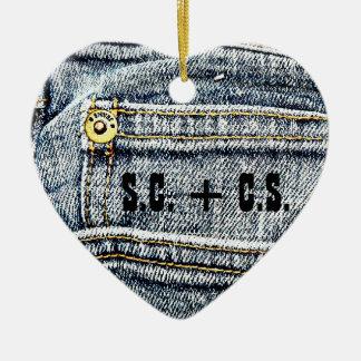 ¡Bolsillo azul del dril de algodón de Jean - Adorno Navideño De Cerámica En Forma De Corazón