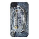 Bolsillo azul del dril de algodón de Jean - añada  Case-Mate iPhone 4 Funda