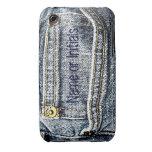 Bolsillo azul del dril de algodón de Jean - añada  Case-Mate iPhone 3 Cobertura