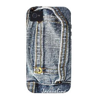 Bolsillo azul del dril de algodón de Jean - añada  Case-Mate iPhone 4 Carcasa
