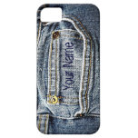 Bolsillo azul del dril de algodón de Jean - añada  iPhone 5 Coberturas