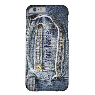 Bolsillo azul del dril de algodón de Jean - añada Funda De iPhone 6 Barely There