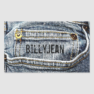 ¡Bolsillo azul del dril de algodón de Jean - Rectangular Pegatinas