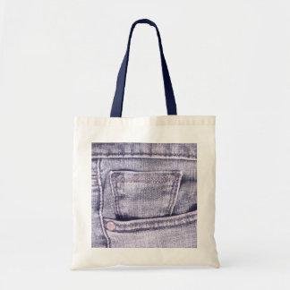 Bolsillo de los tejanos, tela, costuras bolsas de mano