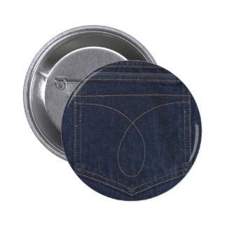 Bolsillo del tejano azul oscuro pin redondo de 2 pulgadas