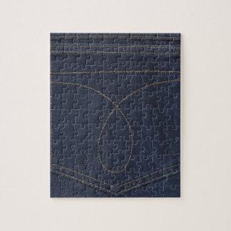 Bolsillo del tejano azul oscuro puzzle con fotos