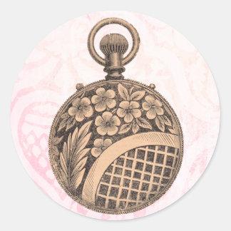 Bolsillo-reloj del vintage pegatina redonda