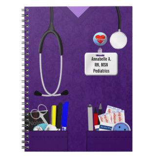 Bolsillos personalizados de la enfermera en púrpur libros de apuntes con espiral