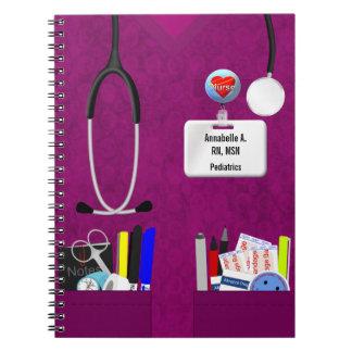 Bolsillos personalizados de la enfermera en rosa spiral notebooks