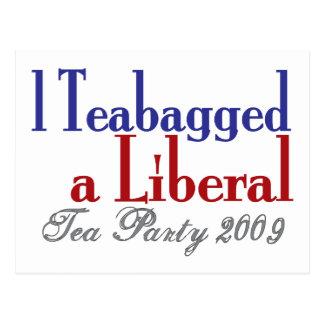 Bolsita de té un liberal (fiesta del té 2009) postal