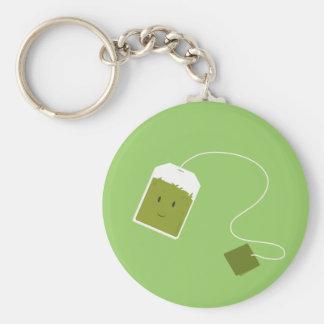 Bolsita de té verde sonriente llaveros personalizados