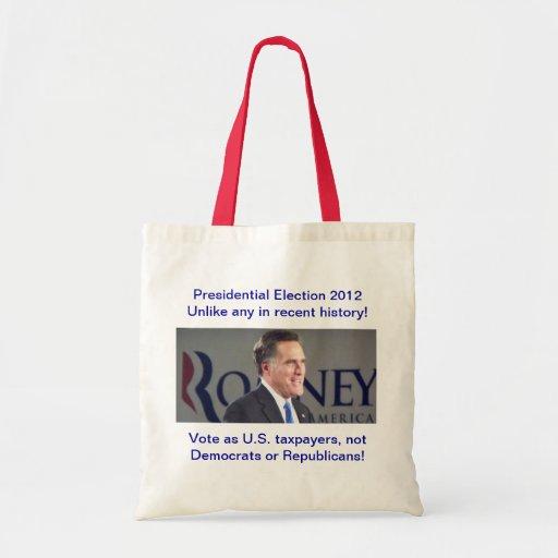 Bolso 2012 de la foto de Romney de la elección Bolsa Tela Barata
