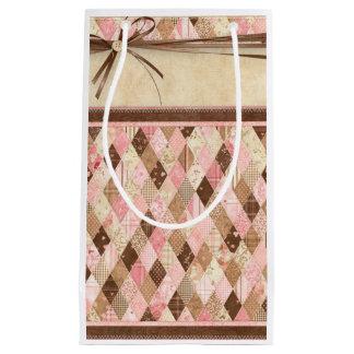 Bolso acolchado del rosa del remiendo y del regalo bolsa de regalo pequeña