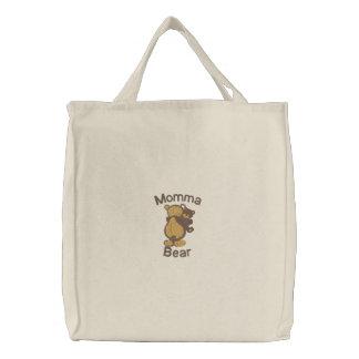 Bolso adaptable lindo del bordado del oso de Momma Bolsas De Mano Bordadas