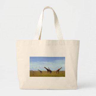 Bolso africano del regalo de Eco de las jirafas de Bolsa Tela Grande