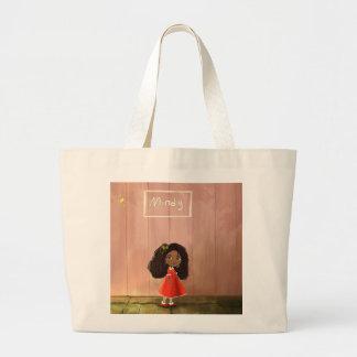Bolso afroamericano del chica del dibujo animado bolsa de tela grande