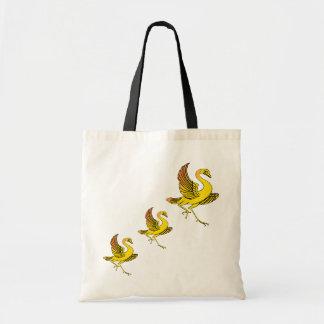 Bolso amarillo de tres pájaros bolsa