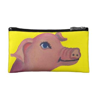bolso amarillo del cosmético del cerdo