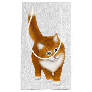 Bolso anaranjado amistoso del regalo del gatito bolsa de regalo pequeña