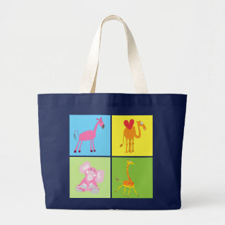 Bolso animal lindo: Caballo, elefante, camello, ji Bolsa Tela Grande