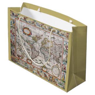 Bolso antiguo del regalo del mapa del mundo bolsa de regalo grande