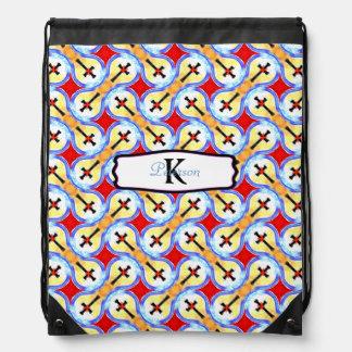 Bolso azul amarillo rojo negro cruzado abstracto mochila