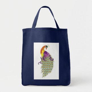 Bolso azul con un diseño del pavo real bolsas lienzo