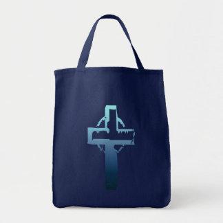 Bolso azul de la cruz del tono bolsa de mano