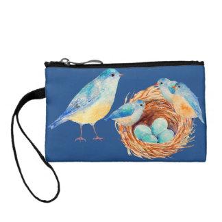 Bolso azul de la familia de pájaro de la acuarela