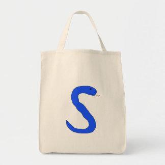 Bolso azul de la serpiente de S Bolsa Tela Para La Compra
