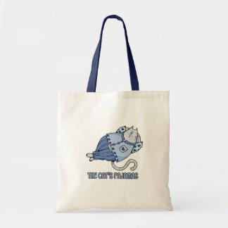 bolso azul de los pijamas de los gatos bolsas lienzo