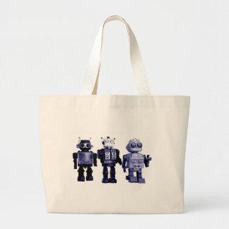bolso azul de los robots bolsa de mano
