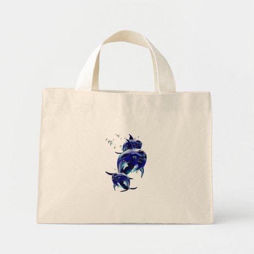Bolso azul de tres delfínes bolsa de mano