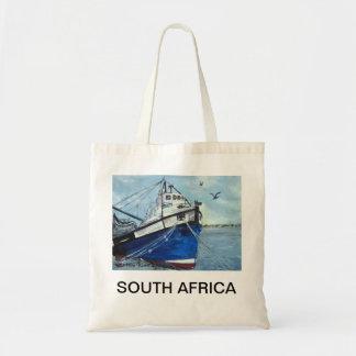 Bolso azul del barco de pesca bolsas lienzo