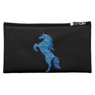 Bolso azul del cosmético del unicornio del fuego