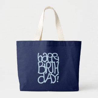 Bolso azul del día feliz del nacimiento bolsa de tela grande