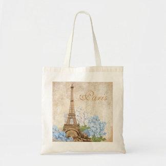 Bolso azul del Hydrangea del vintage de París Bolsas Lienzo