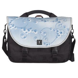 Bolso azul del ordenador portátil del flor de la c bolsas de ordenador
