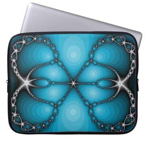 Bolso azul del ordenador portátil del fractal fundas ordendadores
